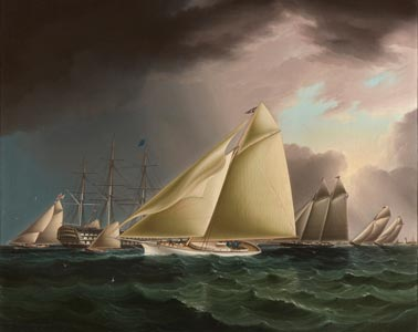 A New York Yacht Club Race with an American Warship at Anchor