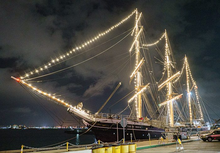 Star of India returns to her berth, at the Embarcadero