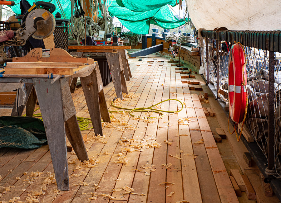 HMS Surprise redecking project.